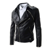 Leather & Faux Leather-Zogaa New Men's Leather Clothing Slim Lapel Short on JD