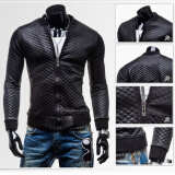 Leather & Faux Leather-Fashion Men PU Leather Jacket Outwear Slim Fit Coat Winter Casual Blazer Grid on JD
