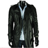Leather & Faux Leather-Zogaa New Men's Leather Clothing Washed Leather Lapel Double-breasted Long on JD