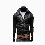 Leather & Faux Leather-Zogaa Men's Leather Clothing Korean Knitting Sleeve Short Slim Washing on JD