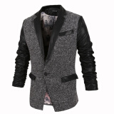 Leather & Faux Leather-Zogaa New Men's Leather Clothing Color Matching Casual Slim on JD