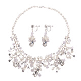Парфорсы/монисто-VKTECH Charm Crystal Pearl Necklace Earrings Suit Bridal Wedding Accessories on JD