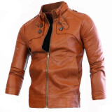 Leather & Faux Leather-Zogaa New Men's Leather Clothing Stand Collar on JD