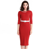 Dresses-Red Women Dress 2016 Plus Size Casual Dresses Solid Color Half Sleeve Pencil Dresses With Sashes O-Neck Dresses on JD