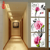 Картины из кристаллов-YGS-139 DIY Full Diamonds Embroidery Triptych flowers roses vertical version Round Diamond Painting Cross Stitch Diamond Mosaic on JD