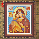 Картины из кристаллов-YGS-6 DIY 5D Diamond Embroidery Diamond Mosaic Russia Human Virgin and Child Round Rhinestones Diamond Painting Cross Stitch Kit on JD