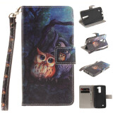 Phone Accessories-Oil painting owl Design PU Leather Flip Cover Wallet Card Holder Case for LG K8 on JD