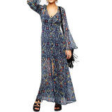 Dresses-CHOIES 2015 Summer style Multi Floral Print Trumpet Sleeve Maxi Dress With Lining on JD