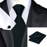 Men's Accessories-N-0251 Vogue Men Silk Tie Set Black Solid Necktie Handkerchief Cufflinks Set Ties For Men Formal Wedding Business wholesale on JD