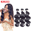 Allrun 7A Brazilian Virgin Hair Body Wave 3 Bundles Unprocessed Human Hair Weaves Brazilian Hair Weave Bundles Brazilian Body Wave