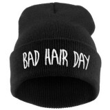 HENGSONG Women's Man's Hip-hop With Letter Bad Hair Day Beanie Knitted Cap