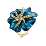 Yoursfs® 18K Rose Gold Plated Blue Painting Flower Rings Use Austrian Crystal Fashion Jewelry