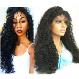 N.L.W Brazilian virgin human hair Lace front wigs Curly Glueless wigs with baby hair for black women