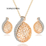 Topkeeping Jewelry sets 18K Gold Plated Hollow Waterdrop Austria Crystal Necklace Earring Wedding Jewellery Set For Women