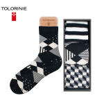 [Jingdong Supermarket] TOLORINIE business men socks combed cotton color thousands of birds grid business men's cotton socks four seasons men socks in the tube socks [3 double] K7119M0011