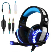 Headphones-Gaming Headset, Beexcellent Over-ear Stereo Bass Wired Hi-Fi Gaming Headphones USB&3.5mm Noise Reduction with Microphone & LED Lig on JD