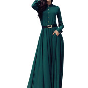 Dresses-Lovaru ™2015 Green Colour hot sale Elegant Women Long Dress Stand Collar Long dress fashion style on JD