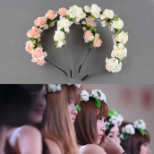 Hair Accessories-Flower Garland Floral Bridal Headband Hairband Wedding Prom Hair Accessories on JD