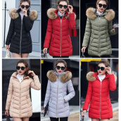 Down Jackets & Parkas-2017 New Winter Women's Coat Long Cotton Big Fur Collar Coat Padded Down Jacket on JD