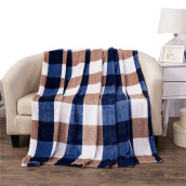 Blankets & Throws-iDouillet Lightweight Soft Micro Plush Fleece Bed Blanket Flannel Travel Blankets (Blue/Green and White Plaid Check on JD
