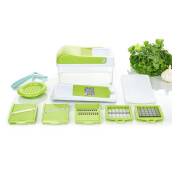 Kitchen & Dining Room Furniture-6 in 1 Multi-functional Vegetable Slicer & Chopper with six Replacing Blade Slicing/Slabbing -Green on JD