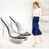 Pumps-Summer new sexy transparent platform with high-heeled non-slip sandals high heels hollow sandals fish head shoes ladies banquet fi on JD