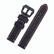 Watchbands-Black Watch band 20mm 22mm 24mm Crazy Cowhide Genuine Leather Watch Strap Black Buckle on JD
