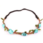 Hair Jewelry-1x Boho Style Floral Flower Women Girls Hairband Headband Wedding Festival Party   LIGHT BLUE on JD