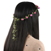 Hair Jewelry-Garland Boho Style Mix Color Floral Flower Wedding   HeadBand Girls  PEACH on JD