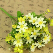 Artificial Flora-Vanker Fashion Artificial Chrysanthemum Flowers Wedding Party Living Room Decor Bouquet Yellow on JD