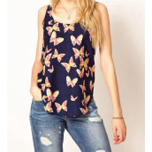 Tanks & Camis-MyMei Lady Cute Pretty Butterfly Print Chiffon Blouse Sleeveless T-SHIRT Vest Tank Top on JD