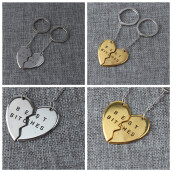 Key Chains-MyMei 1Pc Best Bitches Engraved Heart Round Keychain Keyring For Friends Friendship Gift on JD