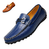 Men's Loafers & Slip-Ons-Men Casual Leather Boat Shoes business Moccasin Driving loafers Croco Crocodile on JD