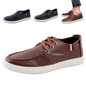 Men's Loafers & Slip-Ons-Men casual Moccasin fashion boat shoes soft leather lace up sneaker Low loafer on JD