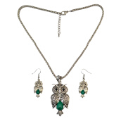 Jewelry Sets-Idealway Bohemian Vintage Silver Snake Chain Turquoise Green Bead Stone Lovely Owl Pendant Necklace Bracelet Earrings Sets Women Jewelry Sets on JD