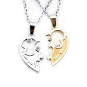 Traditional Necklace/Anklet-I Love You Couple Lovers Choker Love Heart Rhinestone Pendant Chain Couple Necklace 1 Pair on JD