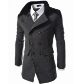 Cardigans-Casual Trench Coat Men Long Coat Double-Breasted Woolen Coat Winter Outerwear on JD