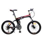 Bikes-Phoenix Folding Mountain Bike 20 inches shock-absorbing 21 speed dual disc brake mountain bicycle on JD