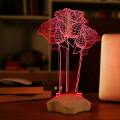 Artificial Flora-Artificial Flora  Creative Optical illusion 3D Luminous Micro USB Led Night Light Desk Table Lamp 460210 on JD