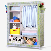 Bedroom Furniture-Beautiful home simple wardrobe cloth wardrobe multi - functional wardrobe steel pipe 136S England checkered on JD