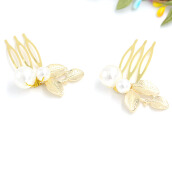 Hair Accessories-Golden Hair fork Bridal Hairpin Crystal Pearls Beads Combs for Wedding jewelry on JD