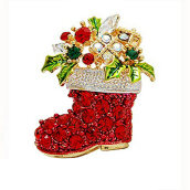 Brooches-Yoursfs@ Christmas Gifts Nice Red Shoe Boot Brooches Pins for Women Full Rhinestones Christmas Brooches for the New Year on JD