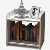 Bedroom Furniture-Wood to the bedside table simple bedside cabinet coffee table storage grid storage type simple two-story small cabinet white side table LY-4012 on JD