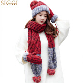 Scarf, Hat & Glove Sets-【Jingdong Supermarket】 Siggi CM88218 hat scarf gloves three-piece women winter Korean version of the tide plus velvet thickening warm wool knit suit red hat width 25CM on JD