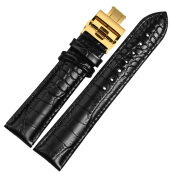 Watchbands-BOLISI  NP01 20mm Watchband Women And Men With Gold Butterfly Buckle Calfskin Watchstrap on JD