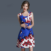 Casual-2017 New Fashion Beauty Blue Butterfly Printing Dress Slim A-lineskirt Relaxation Party Office Exercise Women's Dress on JD