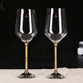Bar Tools & Glasses-[Jingdong Supermarket] 1950 hand-blown gold foil crystal red wine glass 2 gift set on JD