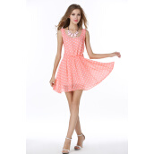 Dresses-Summer Celebs Style Backless Dress Strap Skirt Cute Pink Wave Point Chiffon Sexy Sleeveless Dress on JD