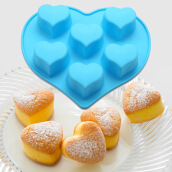 Kitchen & Dining Room-6-Cup Heart-Shaped  Silicone Muffin / Cupcake Baking Pan ,Heat Resistant (Up to 480°F)  Mini Cake Baking Mold / Tray on JD