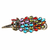 Fine Jewelry-Vintage Womens Colorful Rhinestone Peacock Barrette Hairpin Hair Clip New on JD